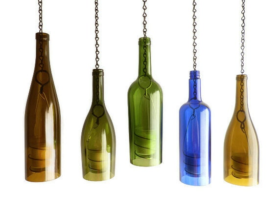 Green glass wine bottle candle holder hanging by bomolutra for How to cut the bottom off a wine bottle easily