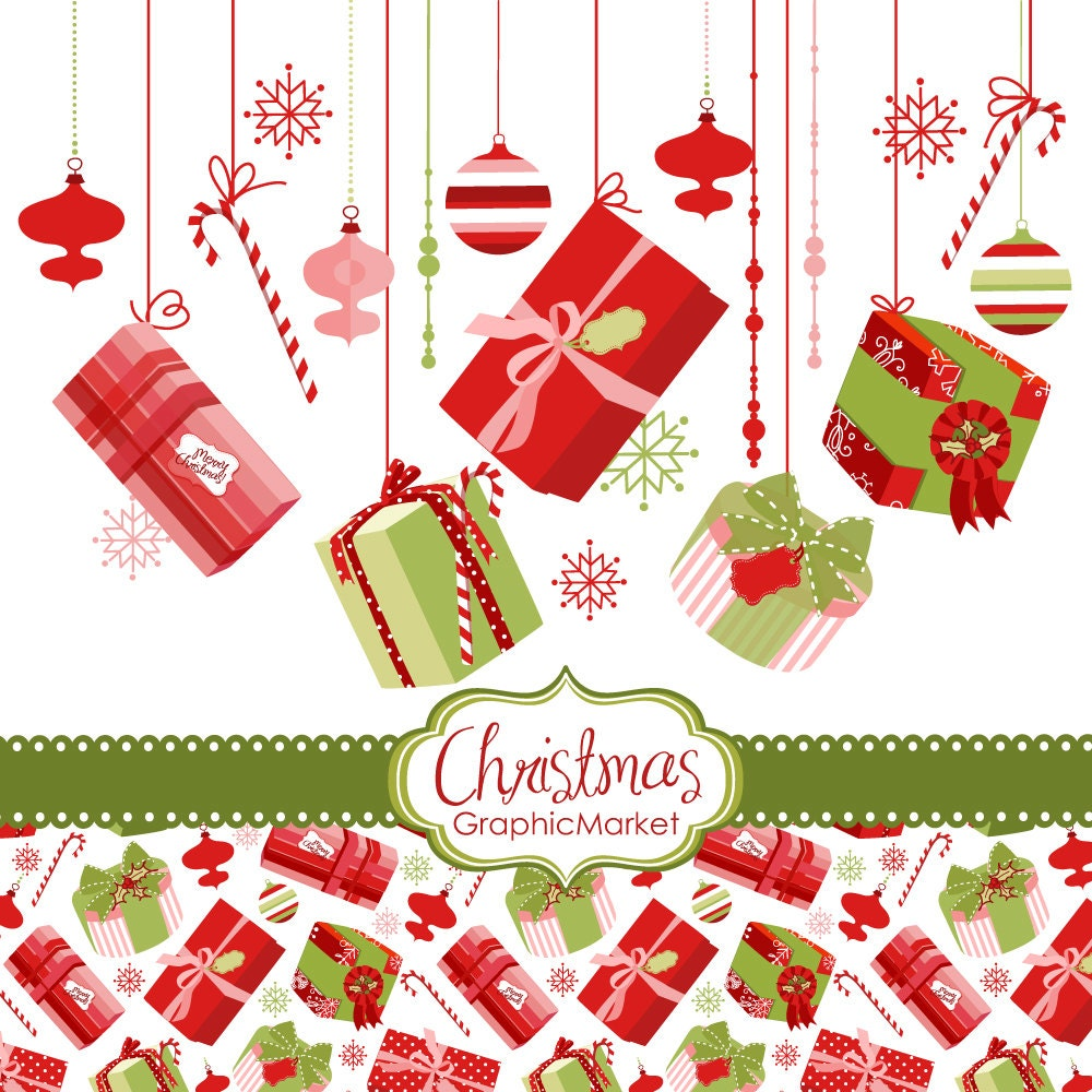 Items similar to Instant Download Christmas Digital Clip Art, gift box ...