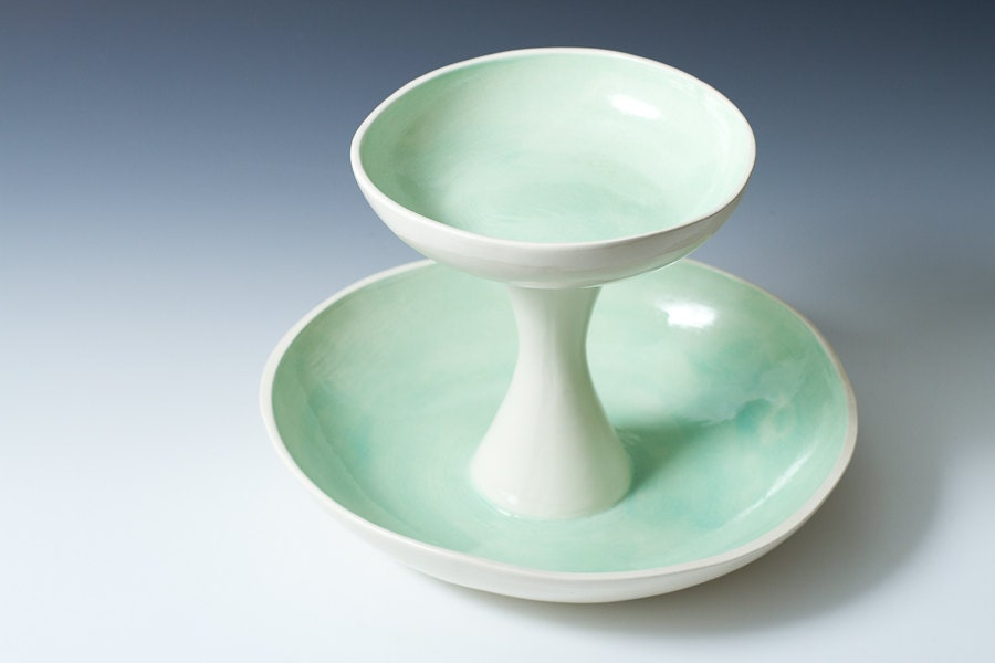 10 off white and turquoise 2 tiered fruit serving by vitreouswares - Tiered fruit bowl ...