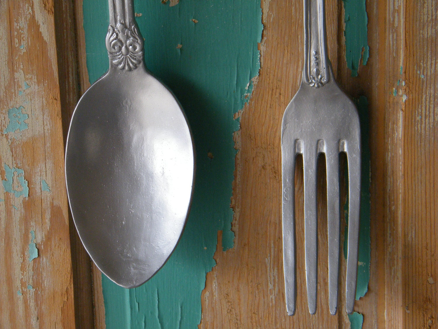 Wall Art Oversize Fork And Spoon Chrome Silver By Morrelldecor