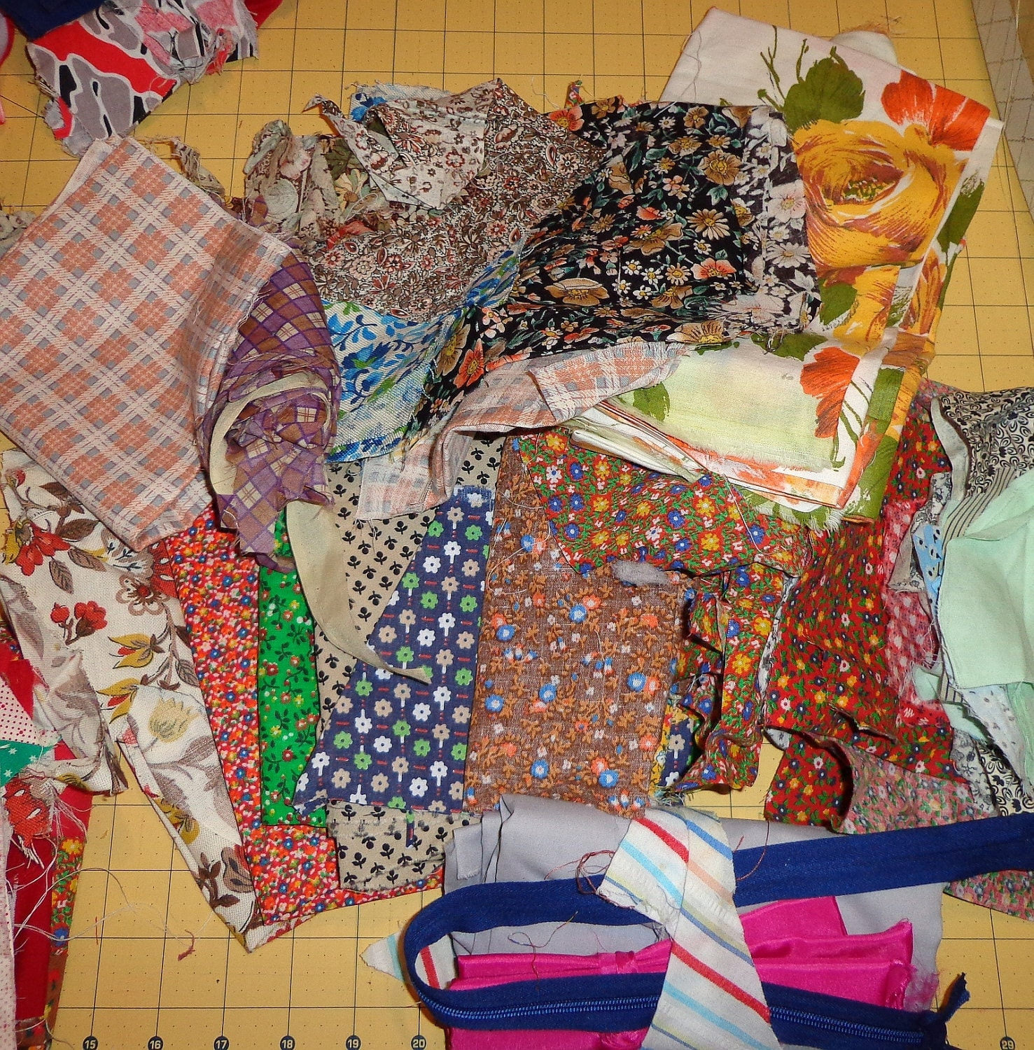 Cotton fabric scraps fabric remnants lot 1 2 pounds by for Fabric remnants
