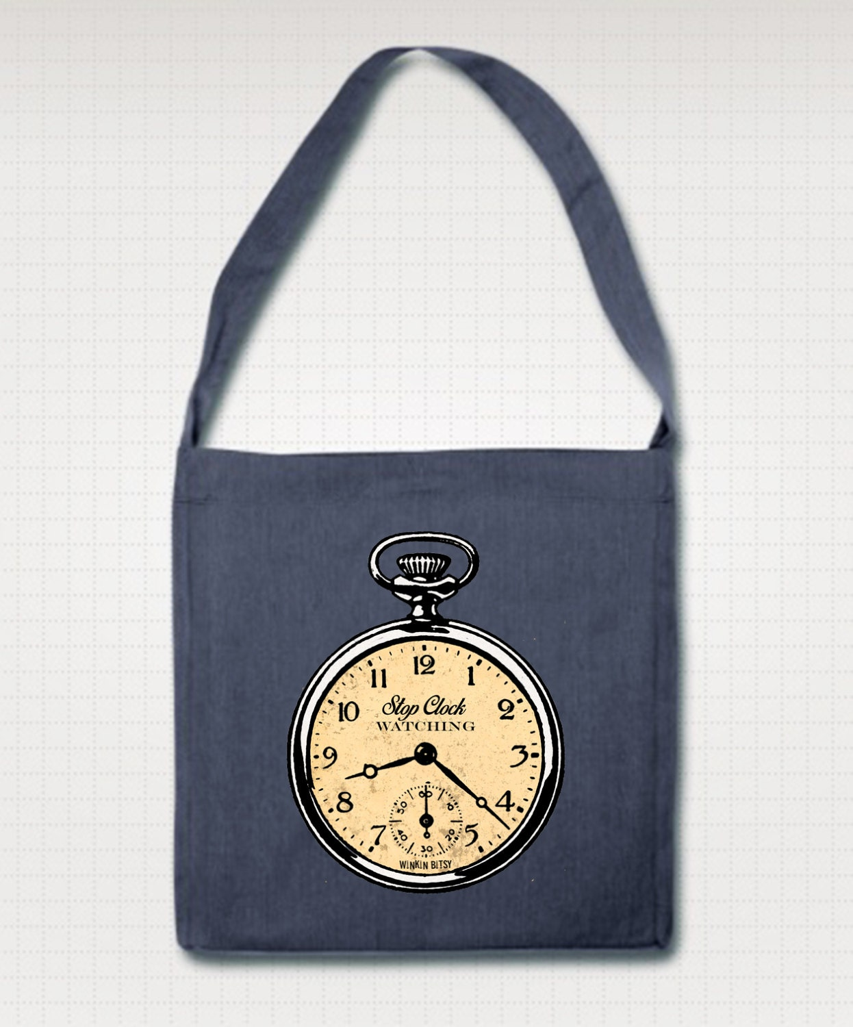 Stop Clockwatching Altered Vintage Art Antique Pocket Watch Illustrated Eco Friendly Recycled Shoulder Bag. Black Navy Green Or Red.
