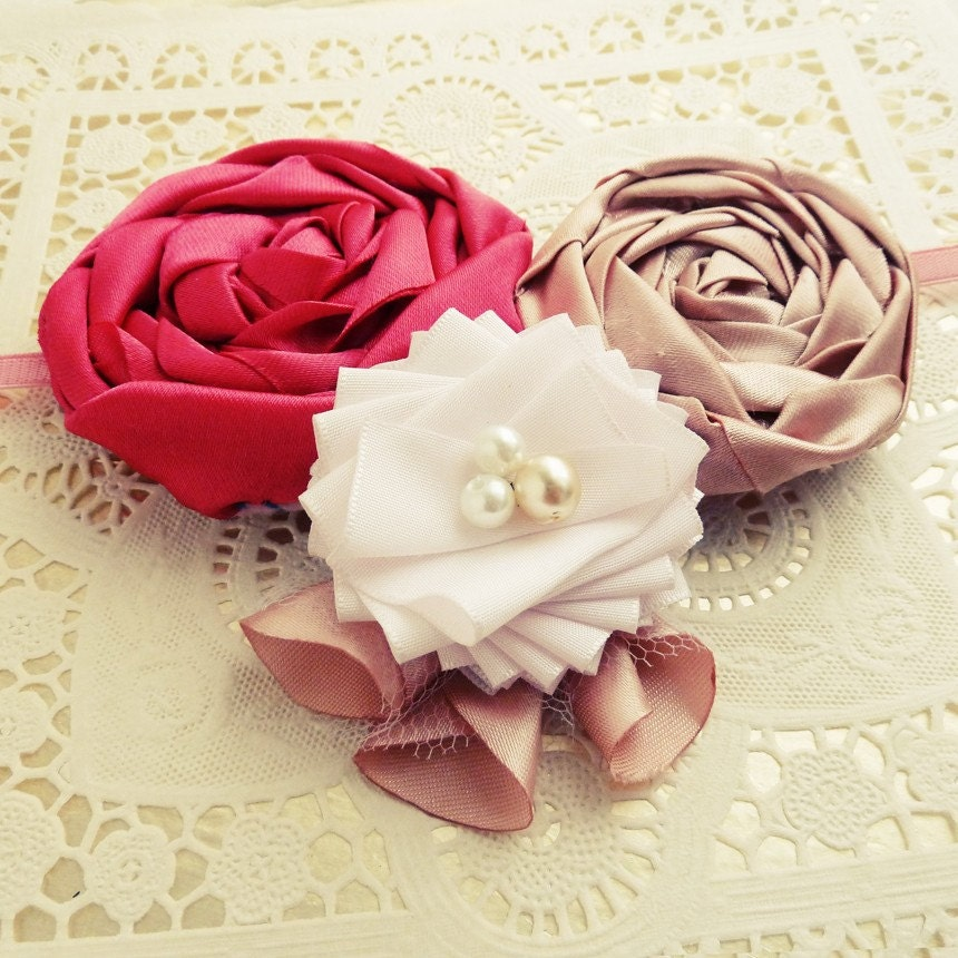 Flower Headband Tutorial: Items Similar To Fabric Flower Tutorial