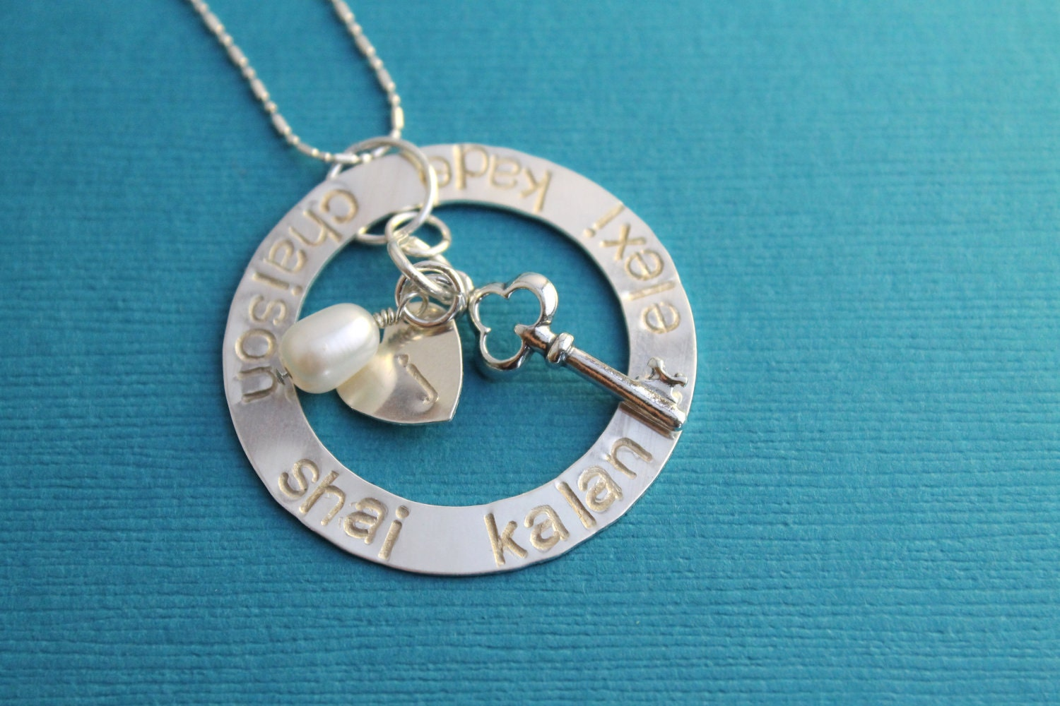 Key to My Heart Large Open Circle Hand Stamped Necklace Sterling Silver