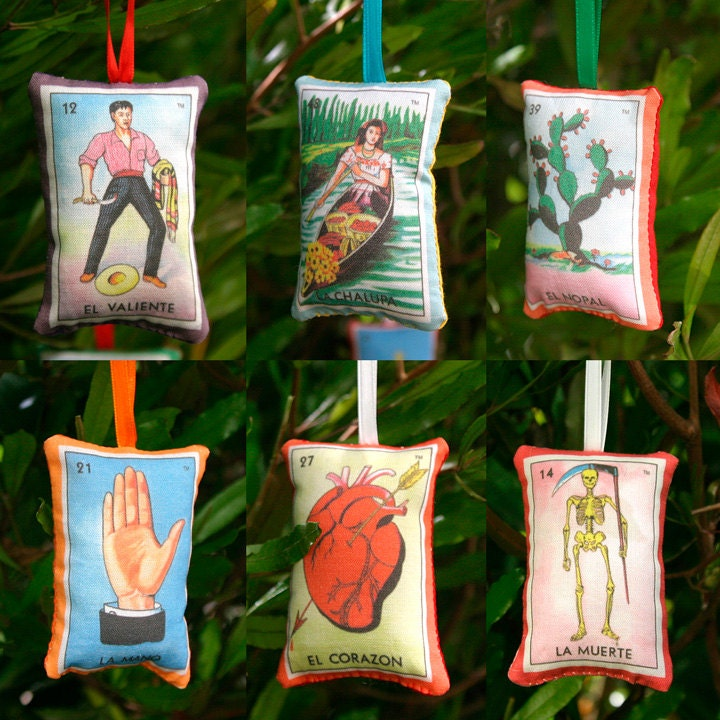 Set Of 6 Mexican Loteria Christmas Ornaments By