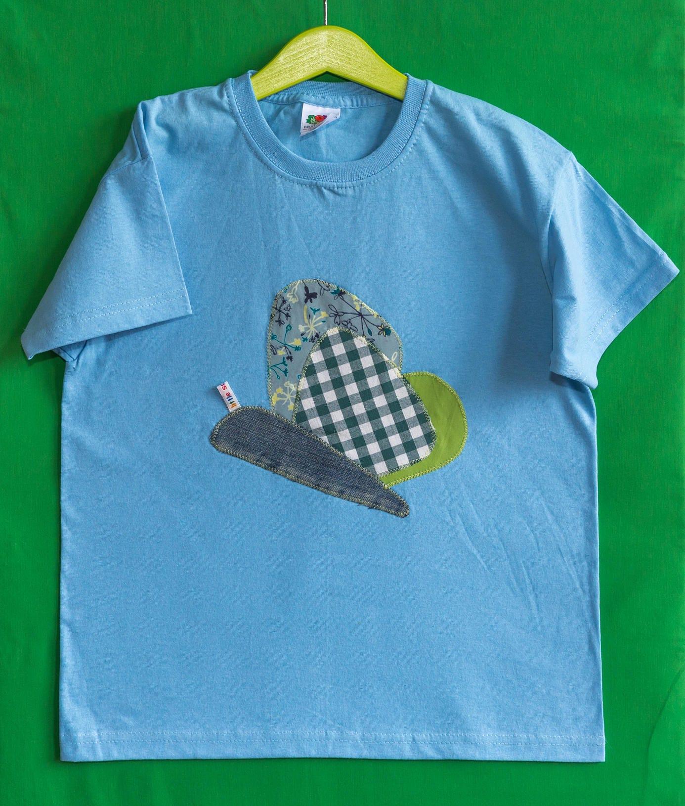 Little Sausages unique children appliqu TShirt Tshirt butterfly animal motif 100 cotton78 light blue girls kids