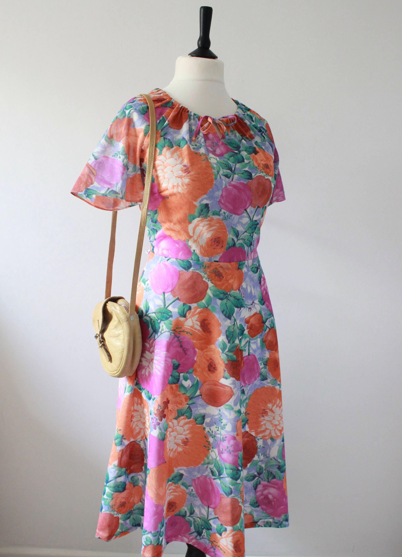 Angel Sleeve 70S Dress Floral 1970S Midi Tea Dress RETRO Flower Power HIPPY Dress Vintage Summer Sundress UK 16 Large L