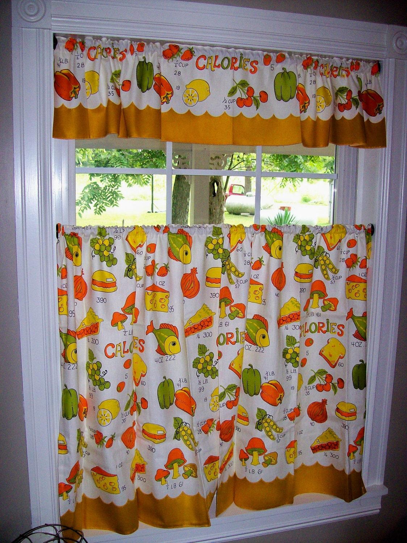 Vintage Curtains Kitchen Retro Fish By Thesquirrelcottage