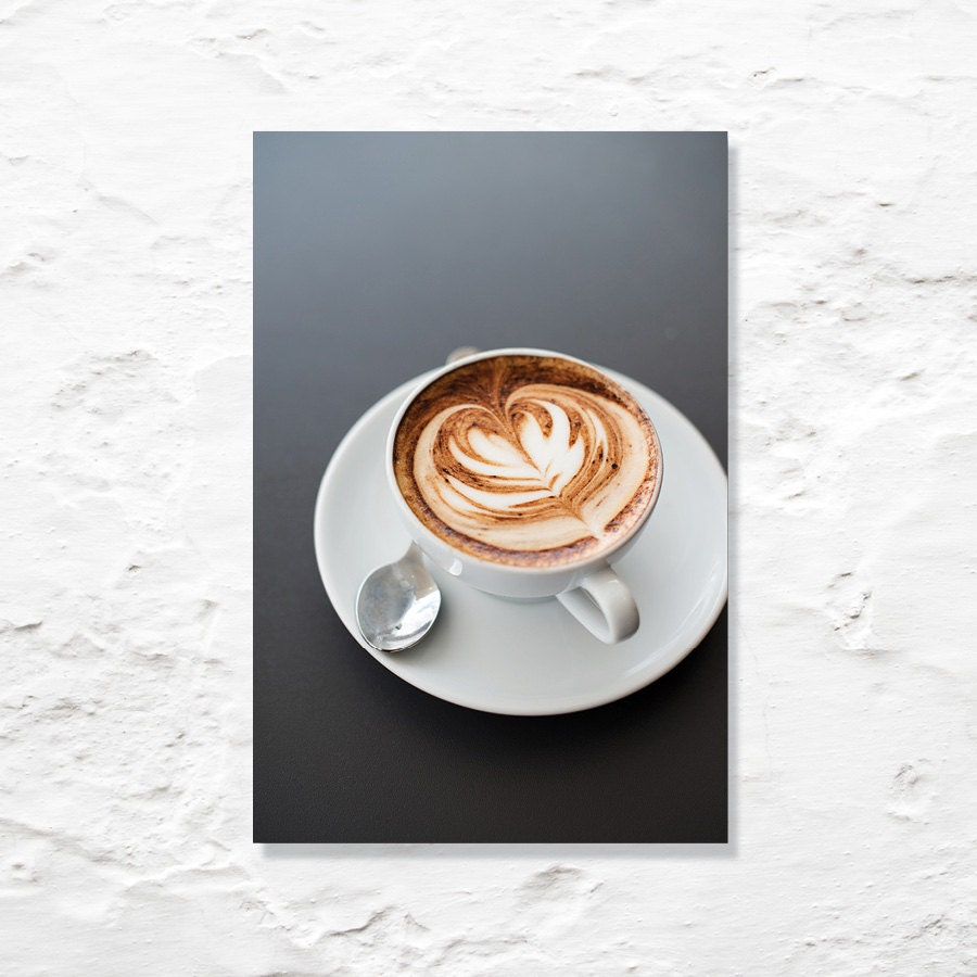 coffee photograph kitchen decor fine art photography latte art caffeine love gray white brown wall decor food photo - geishaphotography