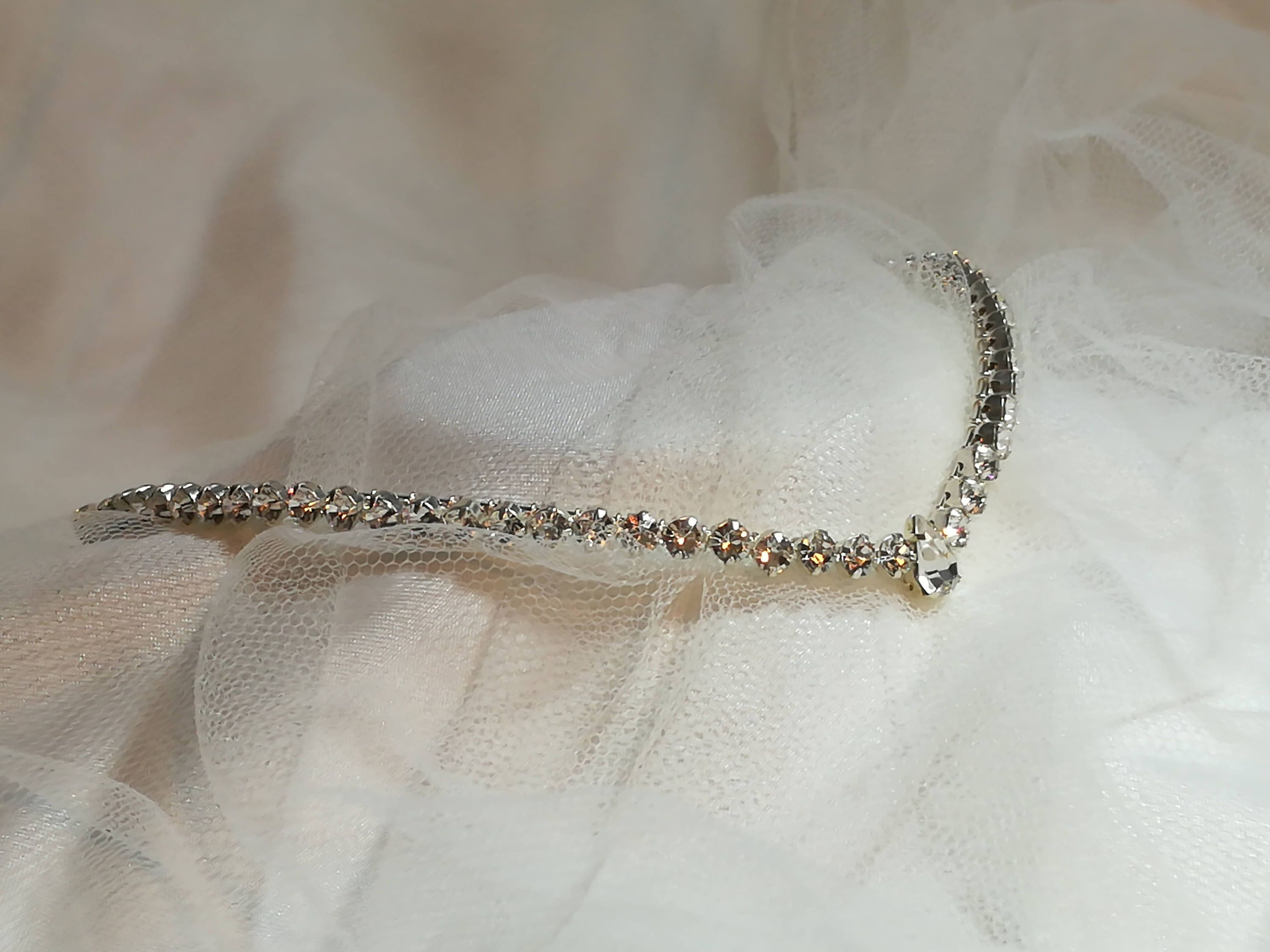 Handmade wedding   bridal   forehead   headband tiara   circlet  brow band tiara  swarovski diamante single row