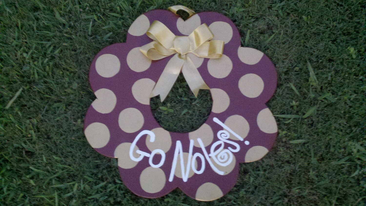 Hand-painted Wooden Team of Your Choice Wreath - Florida State Seminoles Go Noles