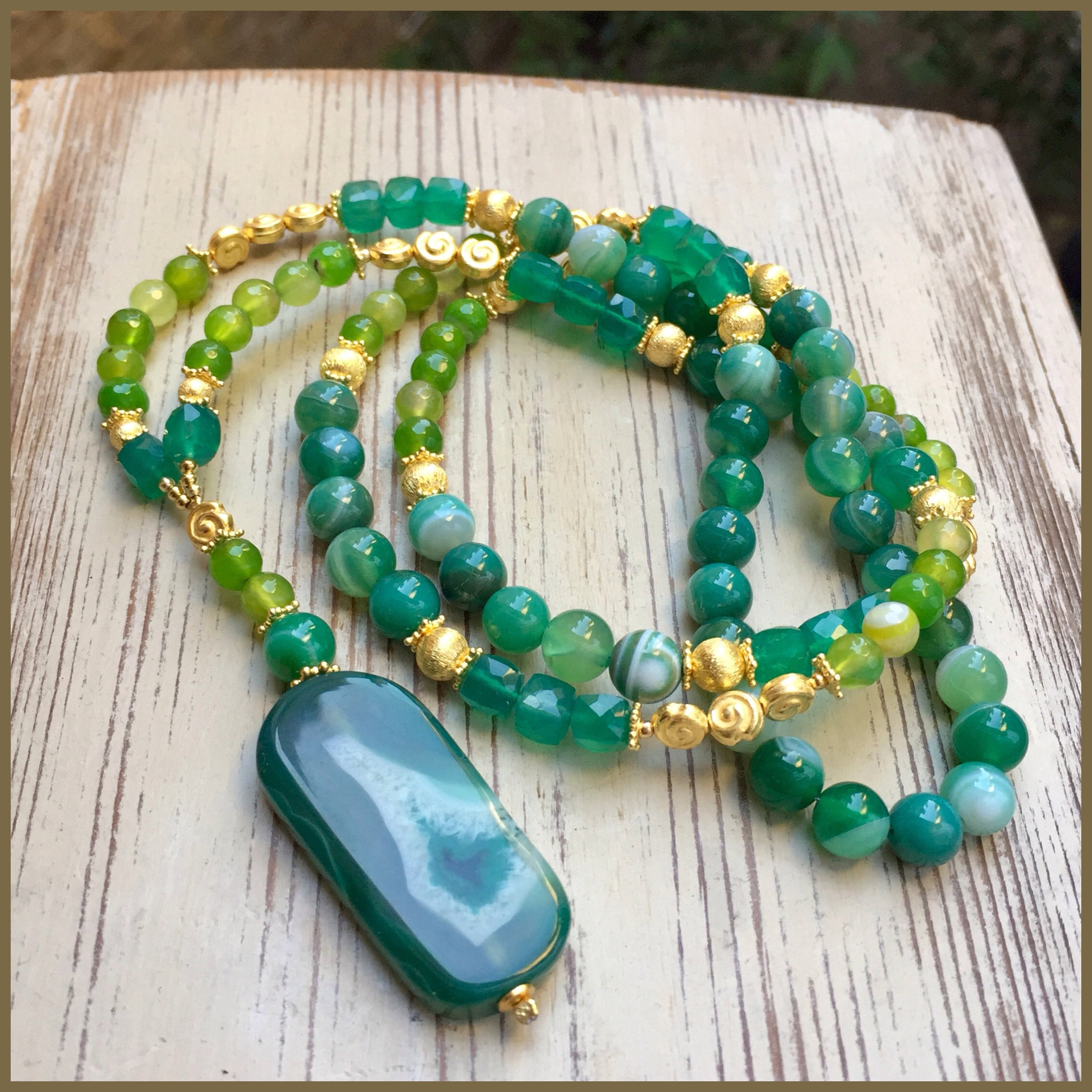 Green Onyx And Vermeil Gold Necklace
