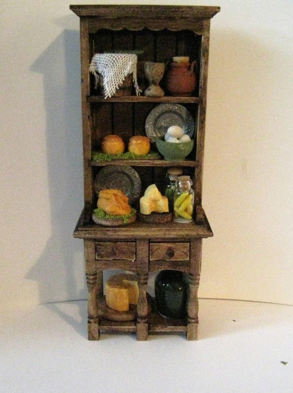 MiniatureTudor Hutch  Medieval Doll house Hutch narrow hutch filled hutchTudor foods Twelfh scale dollhouse miniature