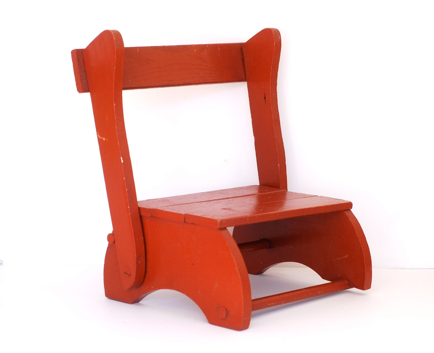 Vintage Rustic Red Folding Child s Chair Step Stool by Surfaced