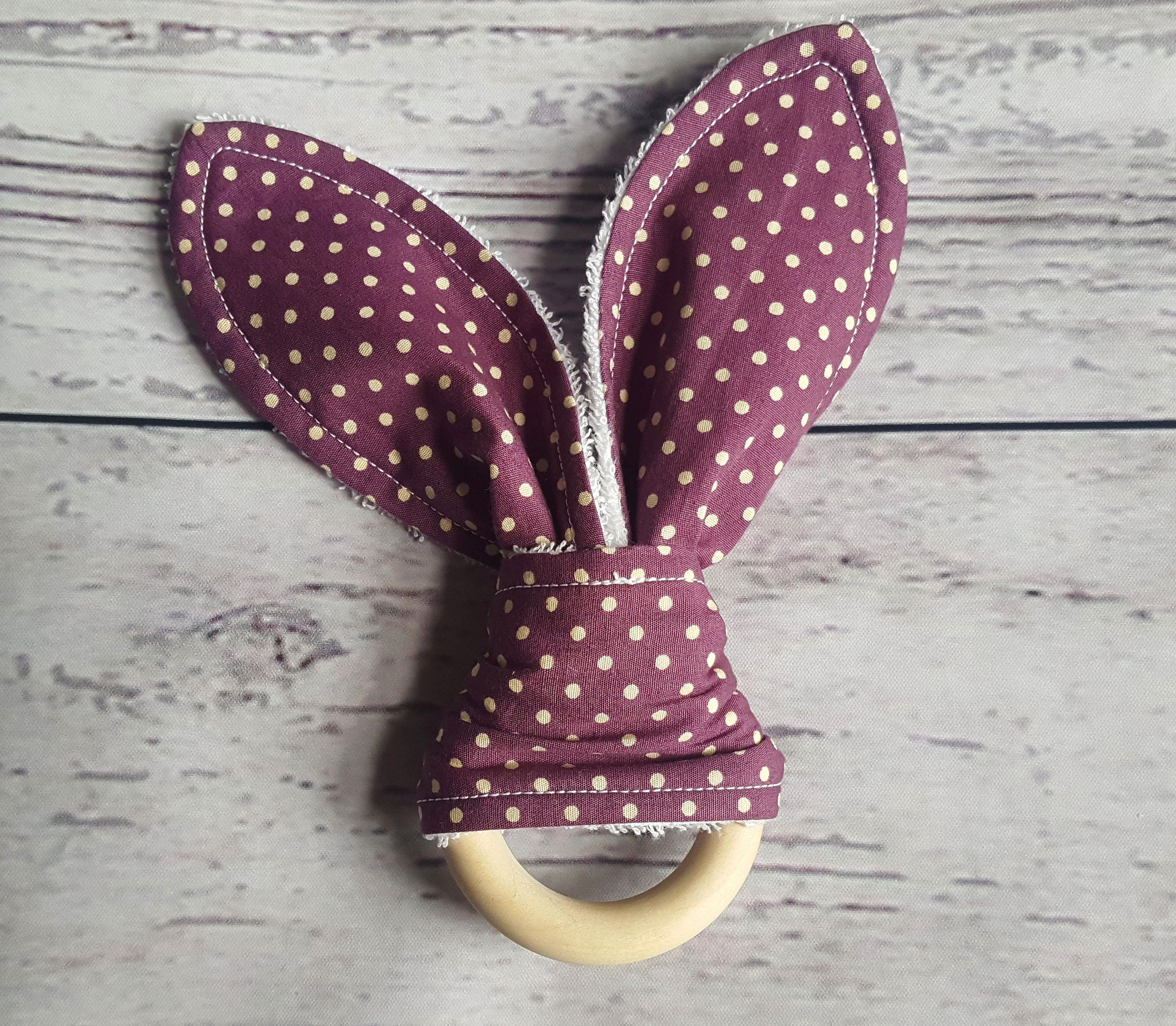 Wooden Teething Ring Wooden Toy Teething Toy Baby girl gift Wooden Teether Baby shower Baby Polka Dots Purple Baby Gift