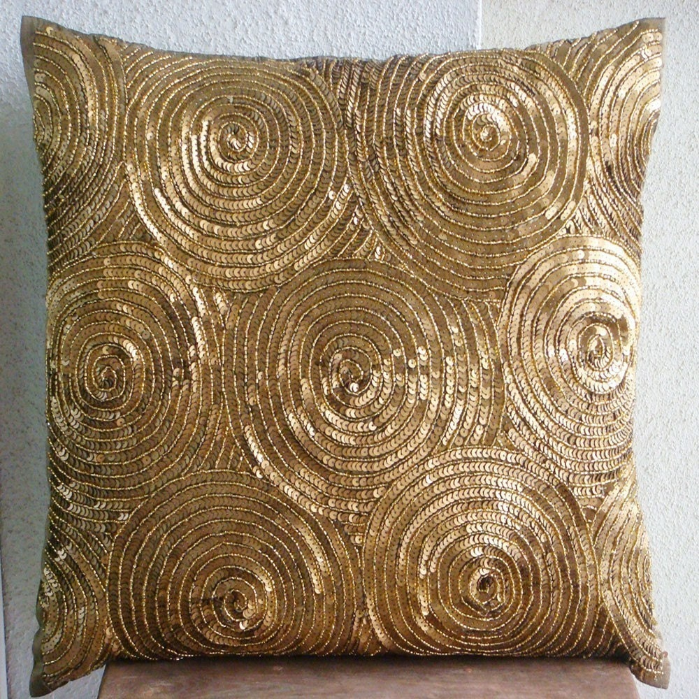 Decorative Throw Pillow Covers 16x16 Inch Gold Silk Couch Sofa Bedding