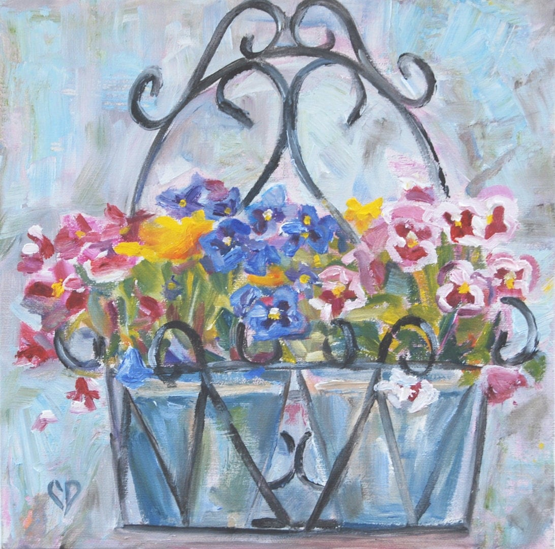 Who Has Hanging Flower Baskets On Sale : Pansy flower painting hanging basket fall flowers sale by