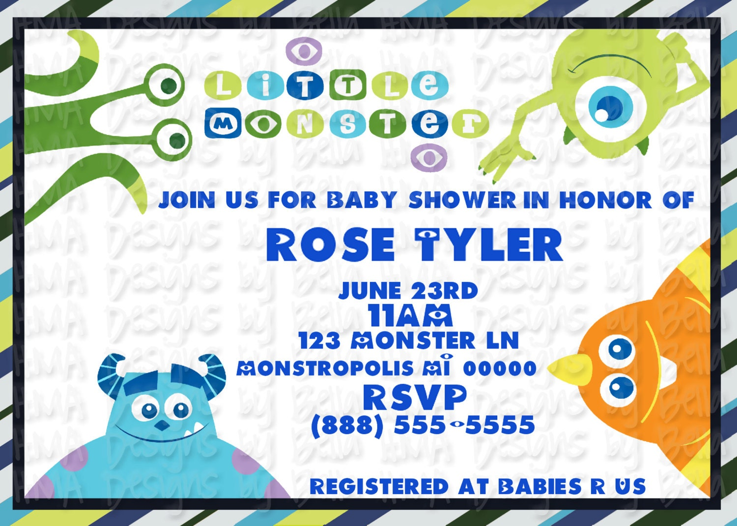 monsters inc invite by hmadesignsbybella on etsy