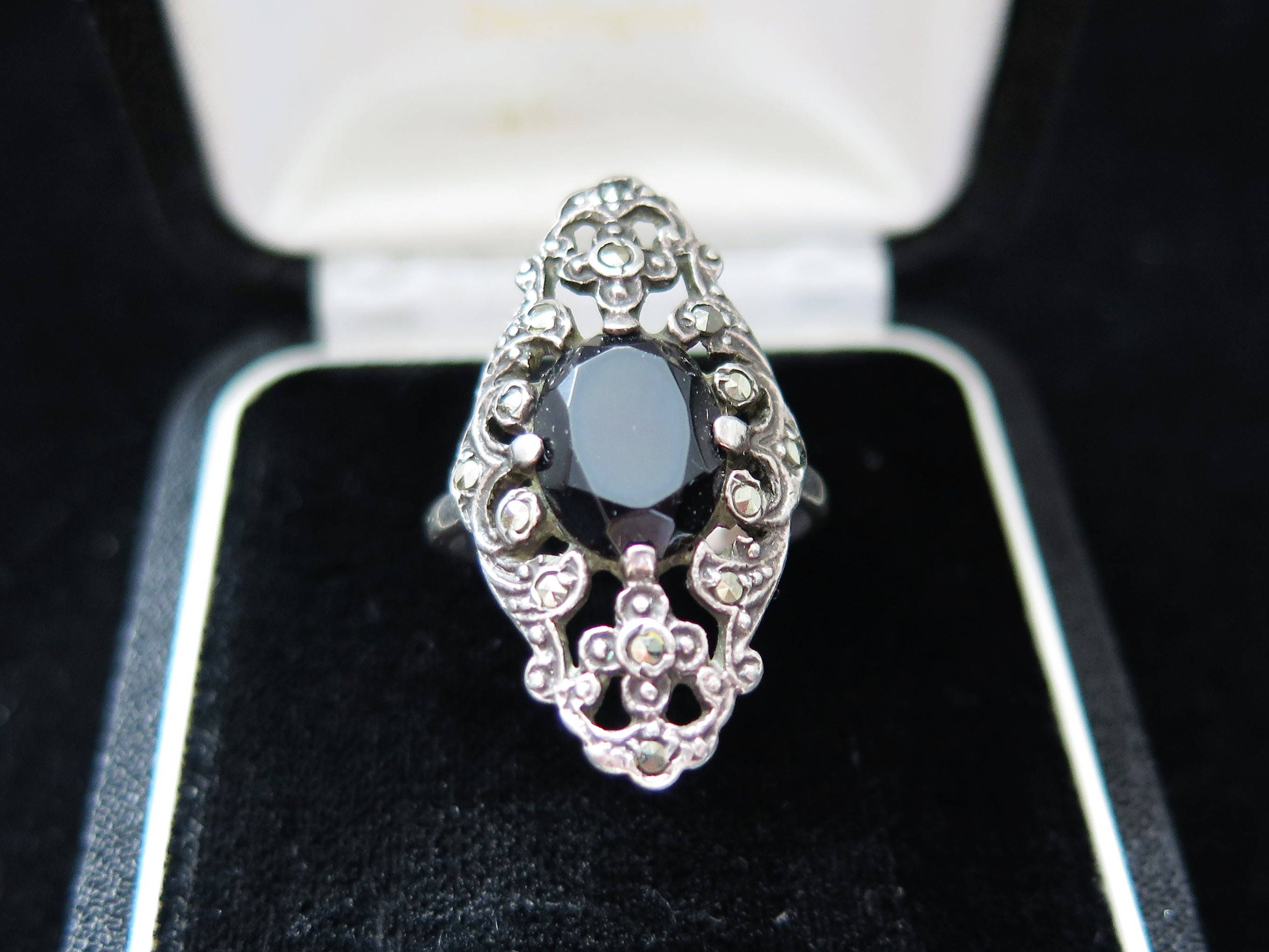 Large Art Deco Ring Statement Ring Sterling Silver With Onyx Marcasite Size P US 7 34