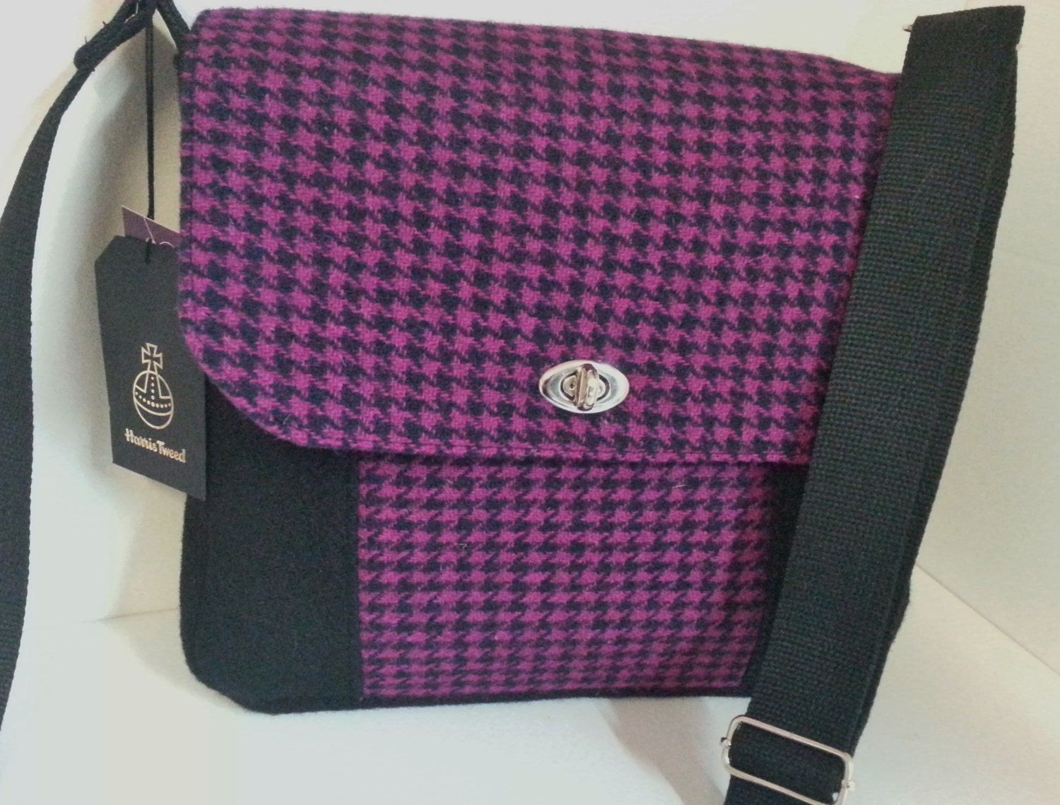 Black and Pink Harris Tweed Messenger Bag
