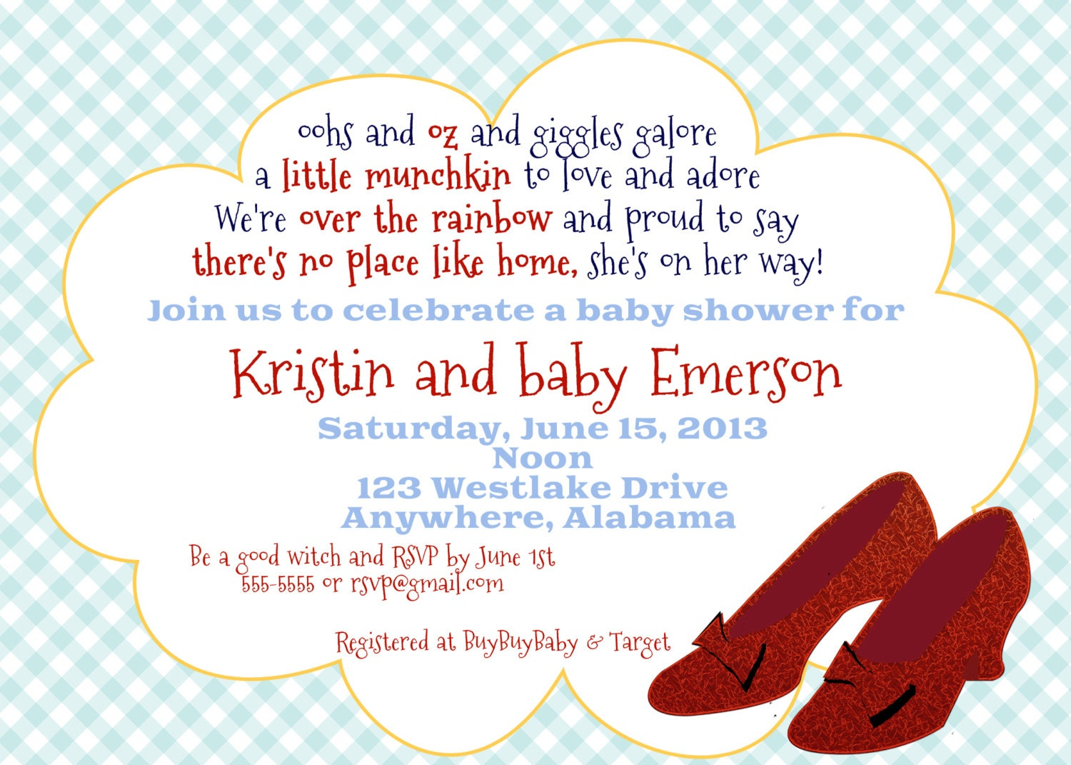 wizard of oz inspired baby shower or baby sprinkle invitation or
