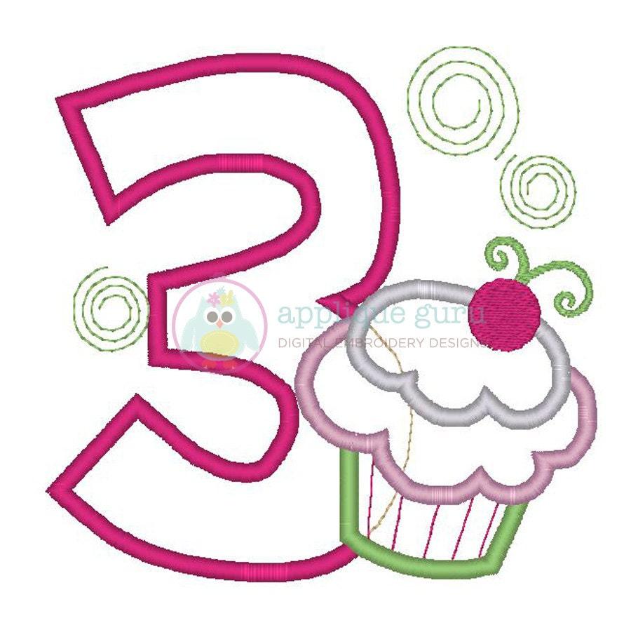 Cupcake party three birthday applique machine by appliqueguru