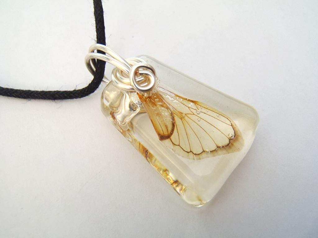 Small Cicada Wing Resin Pendant Real Nature Necklace Bohemian Jewelry  Fairy Wings Insects Bugs Earth Forest Woodland Silver Wire Adjustable - PrismGypsy