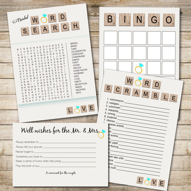 Bridal shower game set word search bridal bingo word scramble