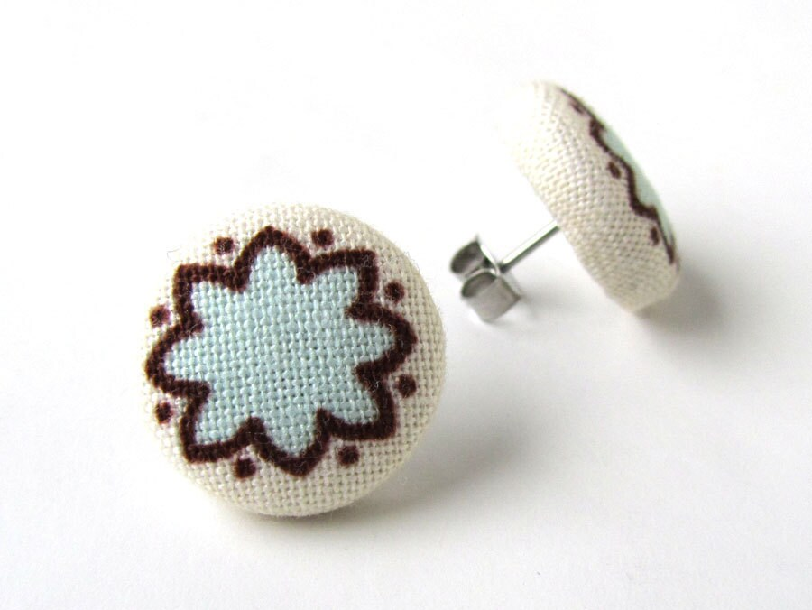 Light blue fabric earrings - tiny button earrings - pastel blue stud earrings tiny brown white flower winter - KooKooCraft