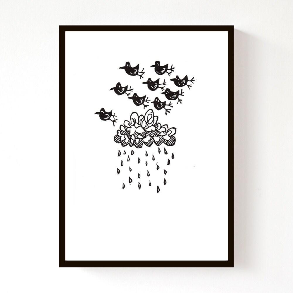 Storm Birds, original lino print