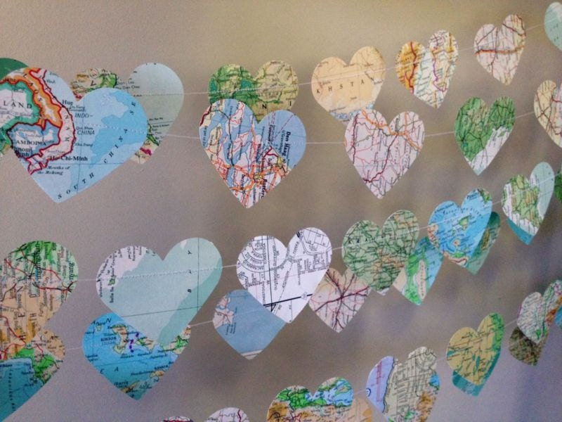 10ft Vintage Atlas Heart Garland Home Decor By 10paperlane