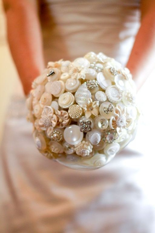 The Diamonds and Pearls Button Bouquet and Boutonniere