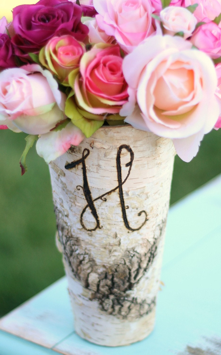 Personalized Monogrammed Tall Birch Wood Vase Rustic Decor (Item Number 140176) - braggingbags