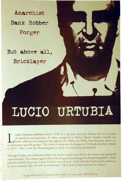 Lucio Urtubia Offset Poster Citibank Spanish Anarchist