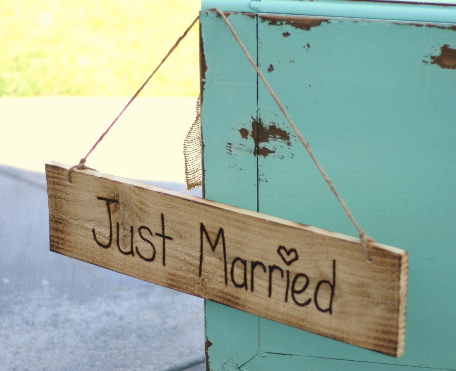 Unavailable listing on etsy for Just married dekoration