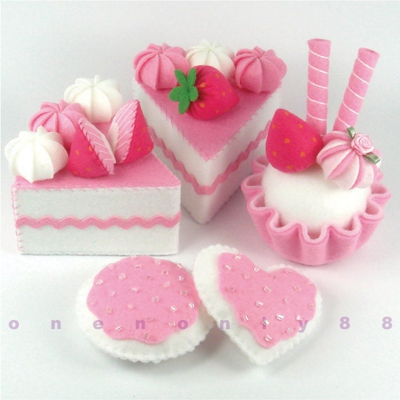 Felt Cake Hot Pink Princess Tea Party Dessert Set - READY TO SHIP - onenonly88