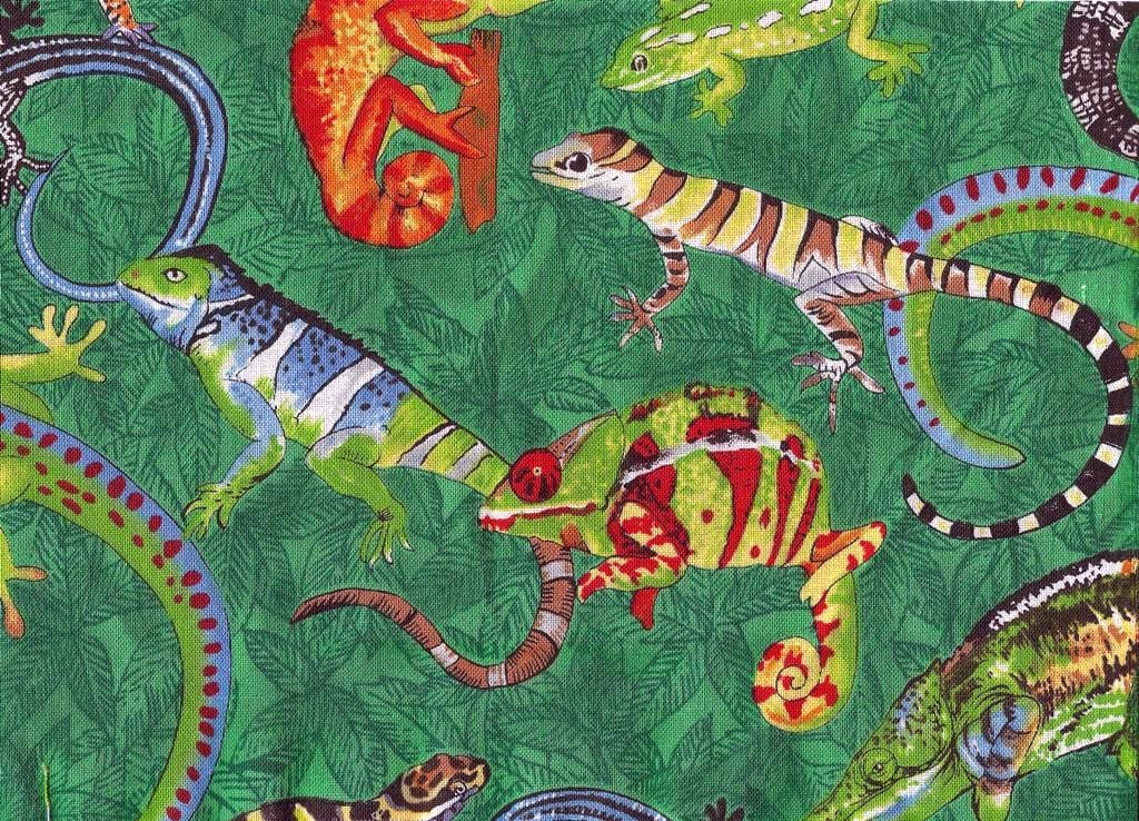 Green lizard reptile fabric cotton remnants by fabricfaerie for Fabric remnants
