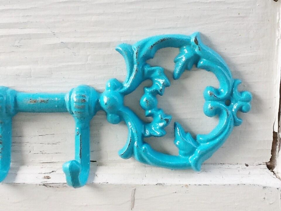 Iron Turquoise Blue Skeleton Key Hook Rustic Jewelry Holder Kitchen