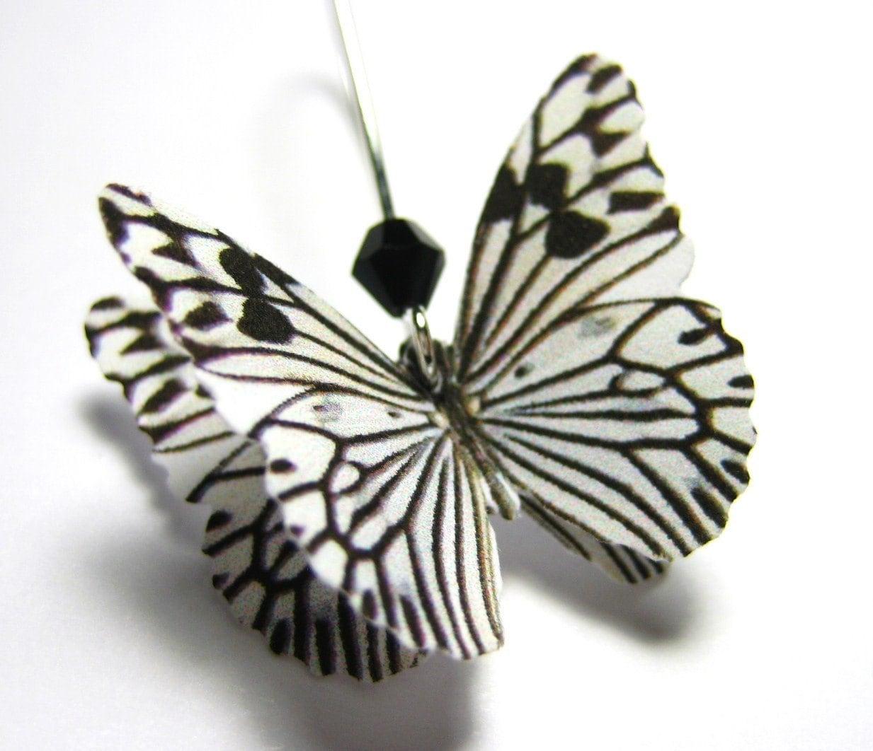 Real Butterfly Jewelry Zebra Print Earrings Monochromatic Black White Stripe