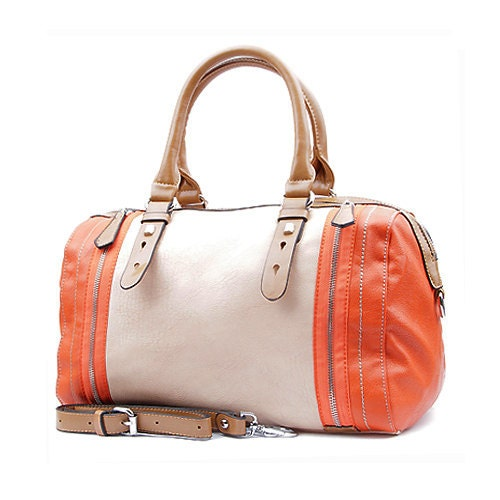 NEON COLLECTION Orange Vegan Leather Handbag Purse - Adriana - INIZIALE