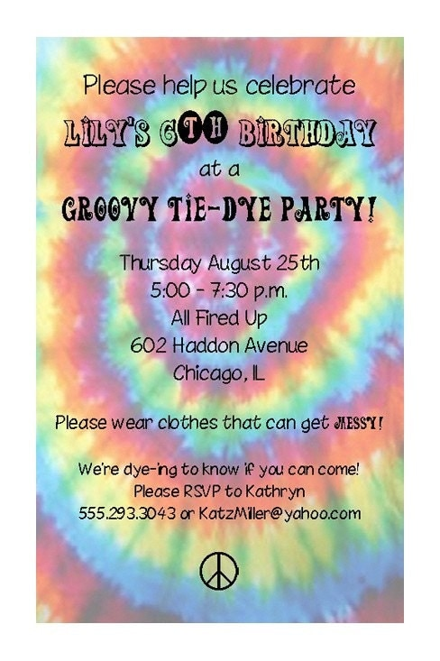 Tie Dye Party Invitation by PracticallyDarling on Etsy