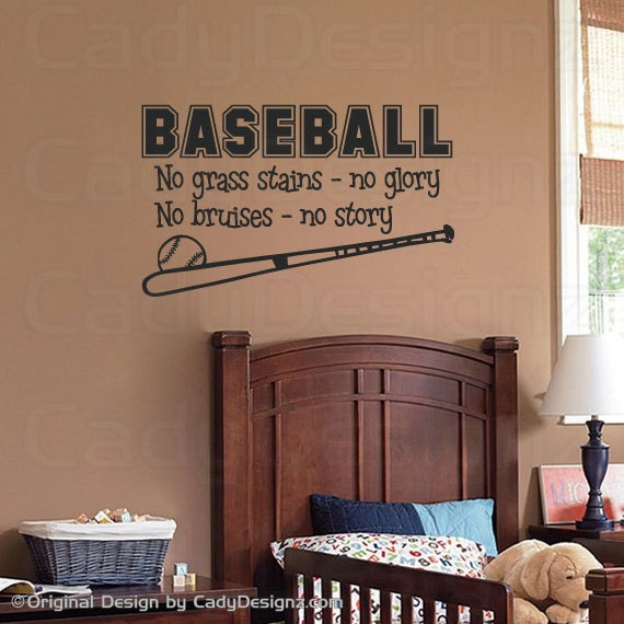Sports Baseball Wall Decal - Boys Room Decor - Children Decor - Vinyl Wall Art - Vinyl Lettering -  28x16 MEDIUM - CadyDesignz