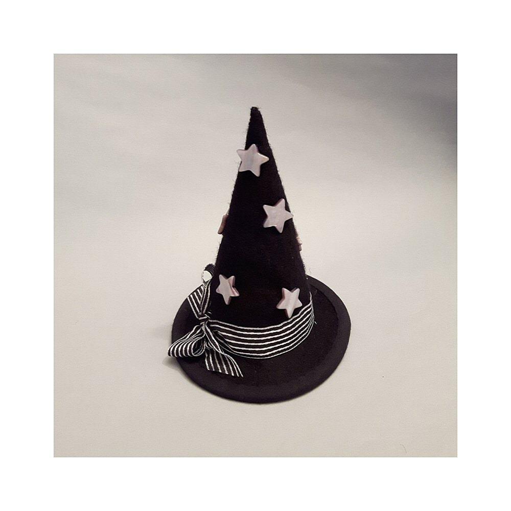 BlythePullipFrightfully Tall Monster High mini witchs hat with stripy ribbon and shellstars