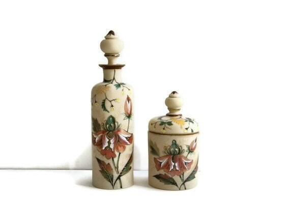 Antique handpainted bristol glass dresser set - TouchingThePast