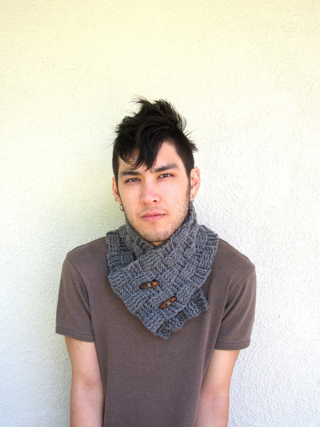 MENS grey gray Scarf Hipster Ascot Neck Warmer Gifts For Guys Under  Wear Neck Scarves Men