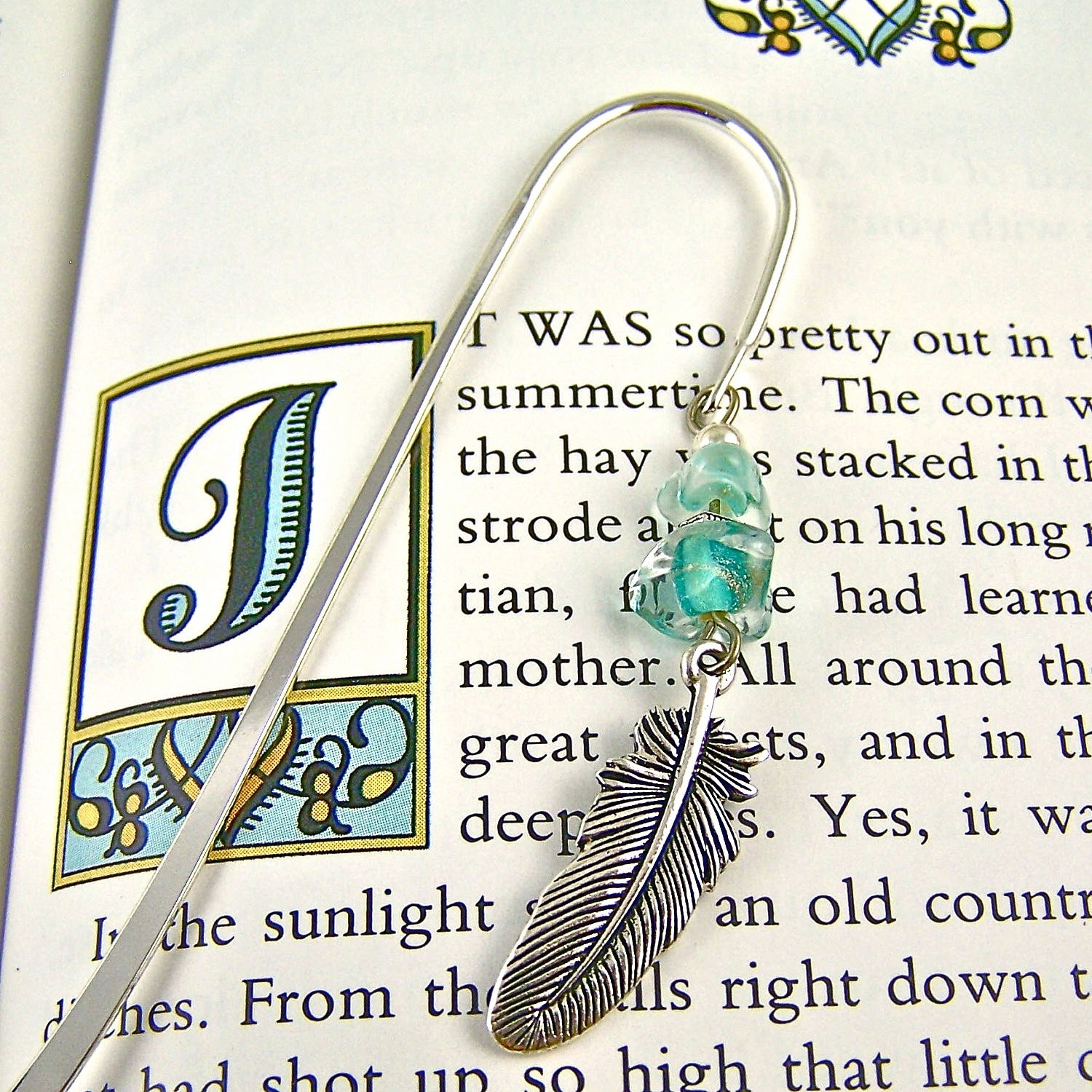 Feather Bookmark - Silver Plated Pewter Charm with Verdigris Green Turquoise Sea Glass Beads / Silver Shepherd Hook Page Marker