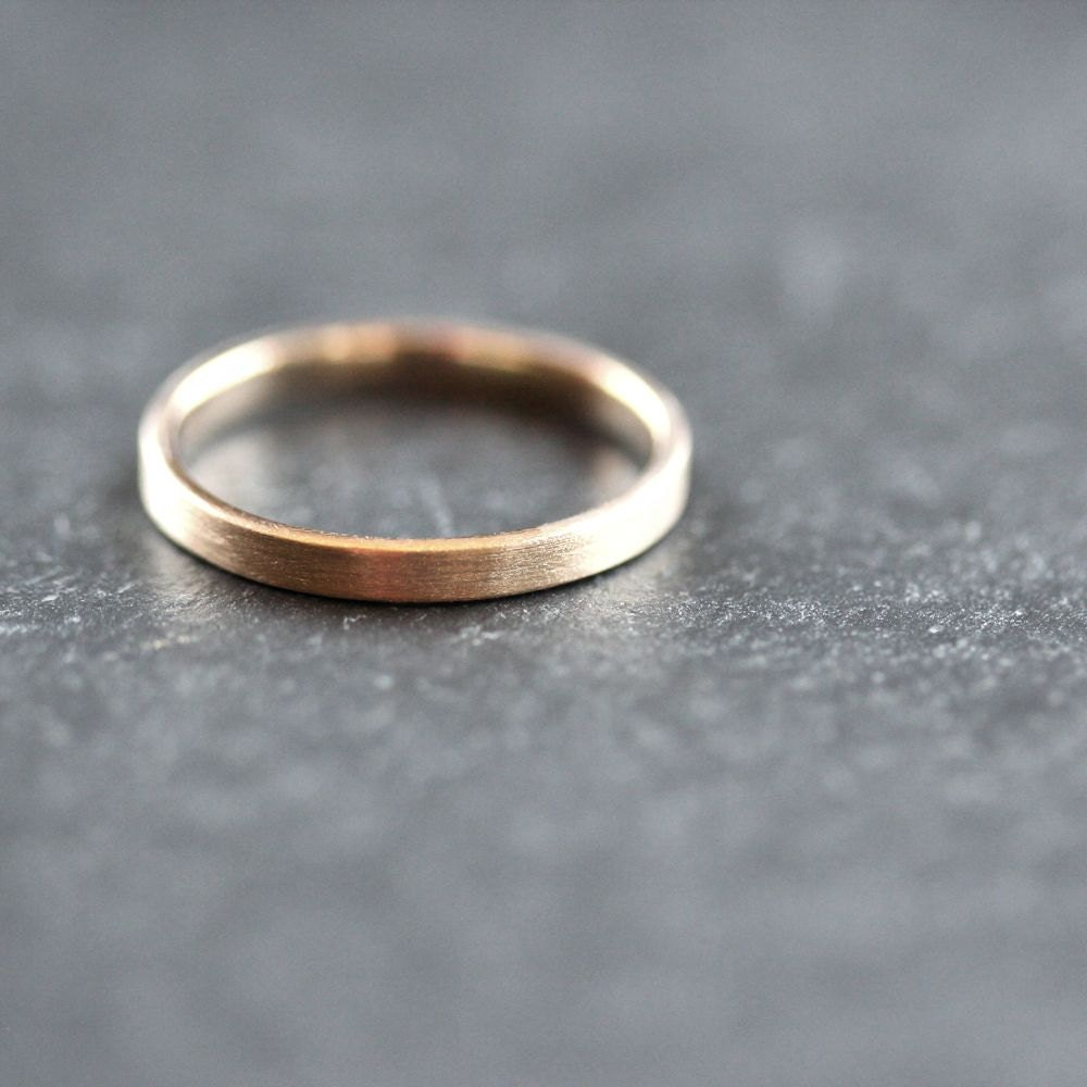 Gold Wedding Band Stackable Ring 2mm Slim Recycled By TheSlyFox