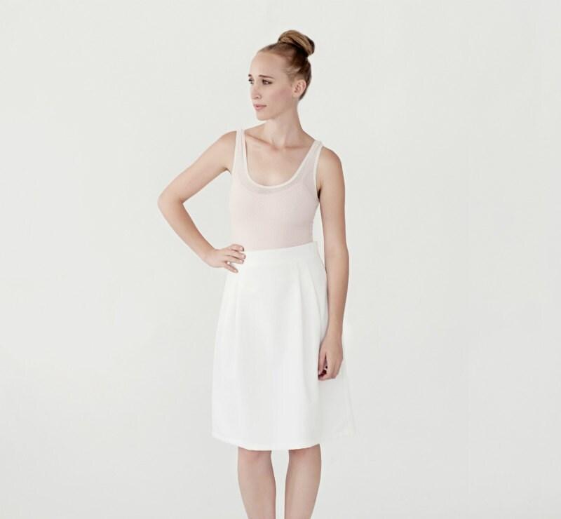 Classic White skirt high waist knee Length - LittleWhiteCloset