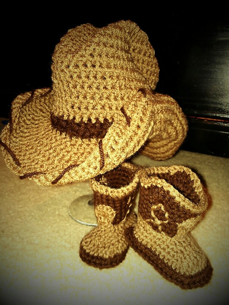 Crochet Pattern For Cowboy Hat And Boots : Items similar to Crochet Cowboy Hat & Matching Cowboy ...