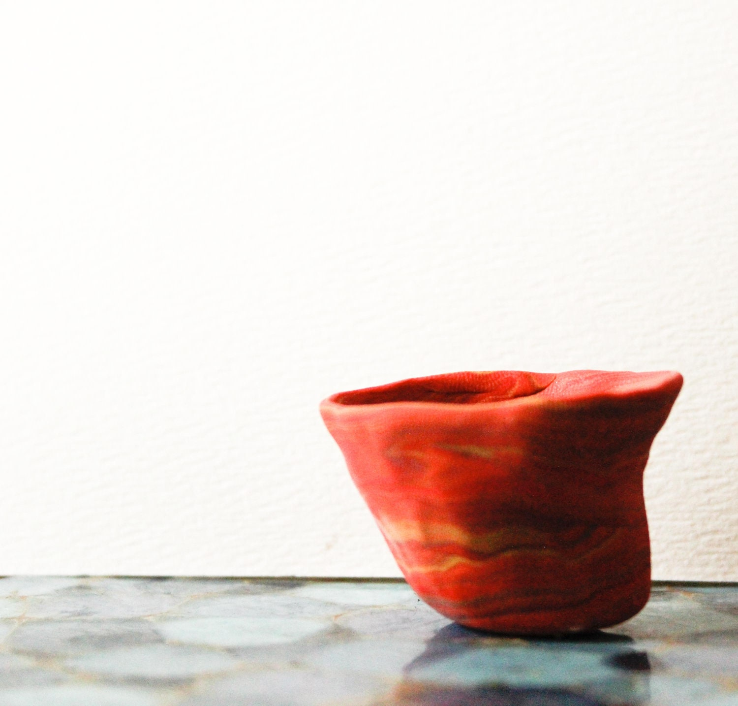 Ometepe - Tiny Handcrafted Burnt Orange and Red Clay succulent Planter - EvaLunaBotanica